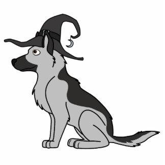 Silberner Schäferhund mit Hexe-Hut Fotoskulptur Schlüsselanhänger