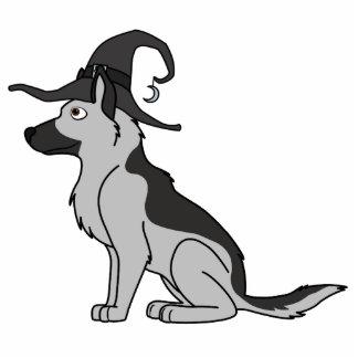 Silberner Schäferhund mit Hexe-Hut Fotoskulptur Magnet