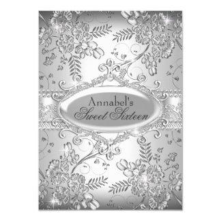 Silberner Schein-Blumen-Bonbon 16 laden ein 11,4 X 15,9 Cm Einladungskarte