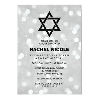 Silberner Schein Bokeh Schläger Mitzvah und 12,7 X 17,8 Cm Einladungskarte