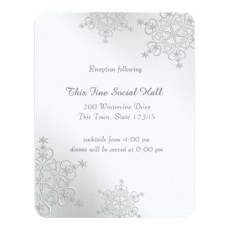 Silberner Schneeflocke-Empfang 10,8 X 14 Cm Einladungskarte