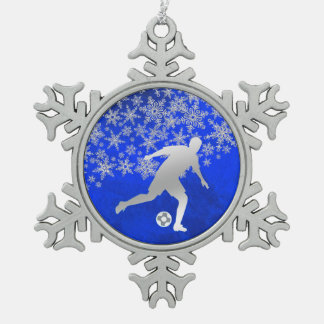 Silberner Schneeflocke-Fußball-Spieler auf Blau Schneeflocken Zinn-Ornament