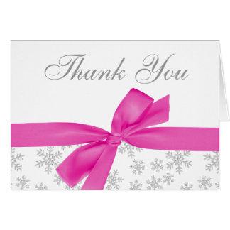 Silberner Schneeflocke-Rosa-Bogen danken Ihnen Karte