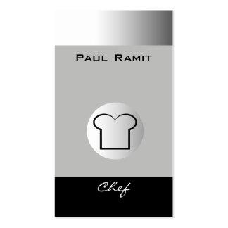Silberner Schwarz-weißer Koch Geschäfts-Karte BW Visitenkarten