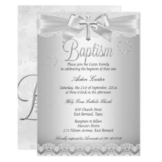 Silberner Spitze-Kreuz-Taufe-Junge oder Mädchen Karte