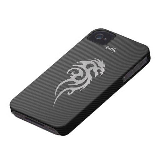 Silberner Stammes- Drache-Tätowierung iPhone 4 Fal iPhone 4 Cover