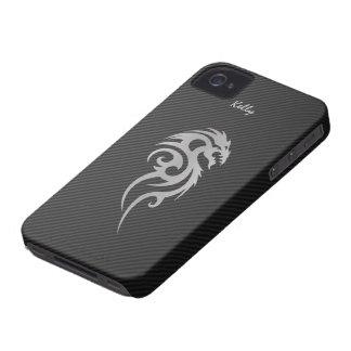 Silberner Stammes- Drache-Tätowierung iPhone 4 iPhone 4 Cover