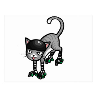 Silberner Tabby auf RollerSkates Postkarte