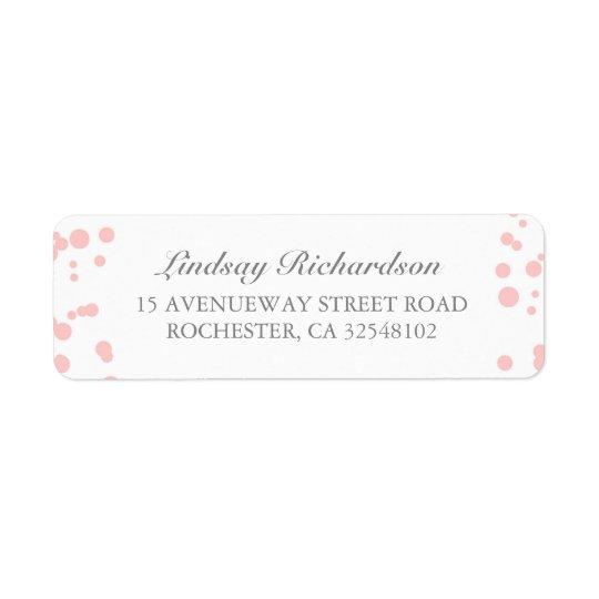 Silberner und rosa Confetti-elegante Hochzeit Rücksendeetiketten
