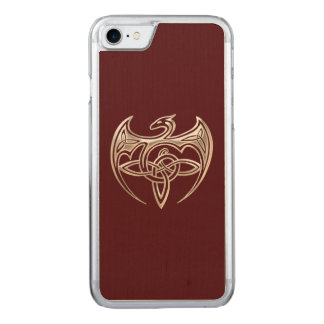Silberner und roter DracheTrine Celtic knotet Carved iPhone 8/7 Hülle