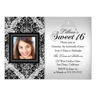 Silberner und schwarzer Glitter-Damast-Foto-Bonbon 11,4 X 15,9 Cm Einladungskarte