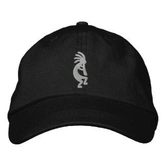 Silberner und schwarzer Kokopelli gestickter Hut Bestickte Kappe