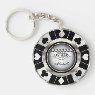 Silberner und schwarzer Poker-Chip-Entwurf - Schlüsselanhänger