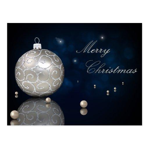 Silberner Weihnachtsball mit Perlen - Postkarte