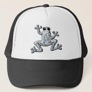 Silberner weißer Paisley-Frosch Truckerkappe
