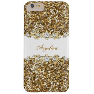 Silberner weißes GoldImitat-Diamant-Juwel-Glitter Barely There iPhone 6 Plus Hülle