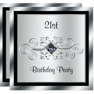 Silberner Wirbel u. Diamant-21. Geburtstags-Party Quadratische 13,3 Cm Einladungskarte