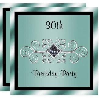 Silberner Wirbel u. Diamant-30. Geburtstags-Party Karte