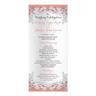 Silbernes Blumenspitze-Entwurfs-Hochzeits-Programm Werbekarte