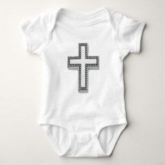 Silbernes christliches Kreuz/Ostern Baby Strampler