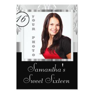 Silbernes Damast instagram 16. Geburtstag Personalisierte Ankündigungskarte