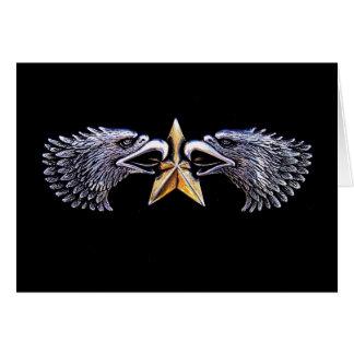 Silbernes Eagles mit Goldstern-Anmerkungs-Karte Mitteilungskarte