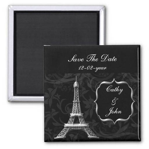 silbernes Eiffel-Turm französisches wedding Save t Quadratischer Magnet