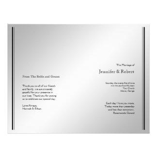 Silbernes Eleganz-Hochzeits-Programm Personalisierte Flyer