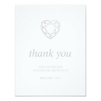 Silbernes geometrisches Herz danken Ihnen - Ebene Karte
