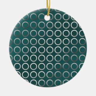silbernes geometrisches Türkisgrün des Rundes Keramik Ornament