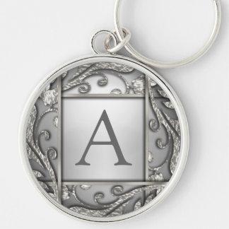 Silbernes Gitter-Monogramm Schlüsselanhänger