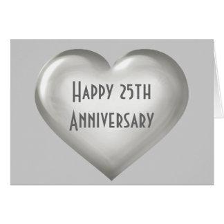 Silbernes Glasherz des glücklichen 25. Jahrestages Karte