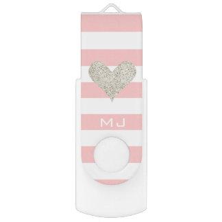 Silbernes Glitter-Herz USB Stick
