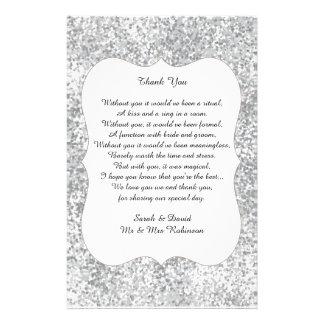 Silbernes Glitter-Hochzeits-Gedicht danken Ihnen, 14 X 21,6 Cm Flyer