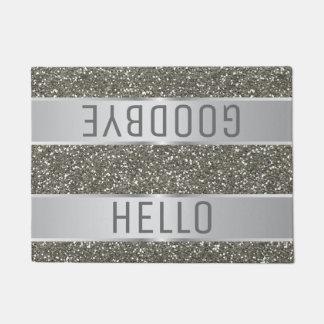 Silbernes Glitter-Muster hallo Auf Wiedersehen Türmatte