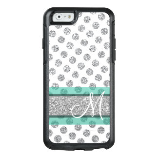 Silbernes Glitter-Polka-Punkt-Muster mit Monogramm OtterBox iPhone 6/6s Hülle