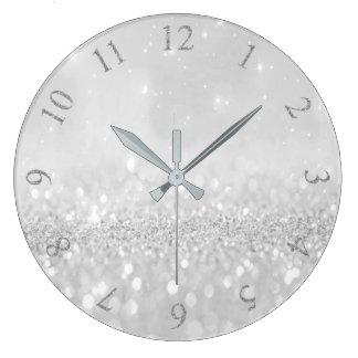Silbernes Grau-Glitzer-minimales metallisches Große Wanduhr