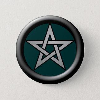 Silbernes GrauPentagram auf Drk Grün Runder Button 5,7 Cm