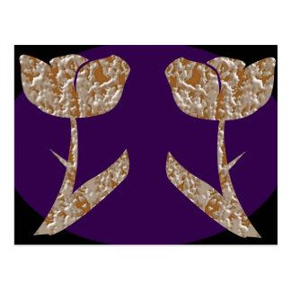 Silbernes gravierte Blumen TULPE n Gold Postkarte