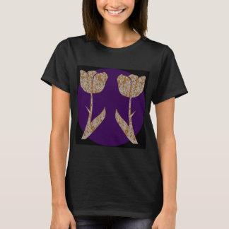 Silbernes gravierte Blumen TULPE n Gold T-Shirt