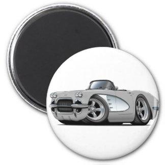 Silbernes Kabriolett 1961 Korvette Runder Magnet 5,1 Cm