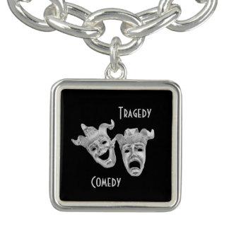 Silbernes Komödien-und Tragödie-Masken-Theater Charm Armband