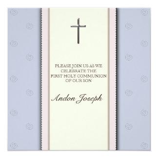 Silbernes Kreuz-erste heilige Kommunions-Einladung Quadratische 13,3 Cm Einladungskarte