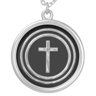 Silbernes Kreuz Versilberte Kette