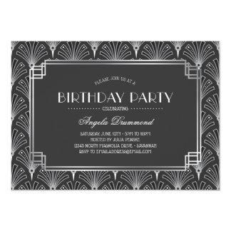 Silbernes Kunst-Deko-Geburtstags-Party Karte