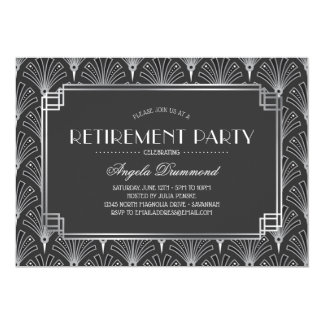 Silbernes Kunst-Deko-Ruhestands-Party Karte