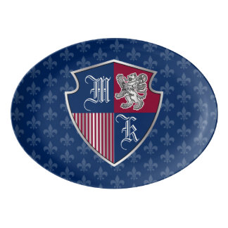 Silbernes Löwe-Wappen Monogramm-Emblem-Schild Porzellan Servierplatte