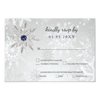 silbernes Marineschneeflockewinter-Hochzeits-uAwg Karte