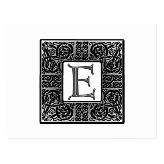 "Silbernes Monogramm des Celtic-""E"" Postkarte"
