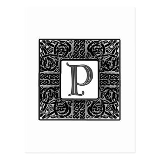 "Silbernes Monogramm des Celtic-""P"" Postkarte"